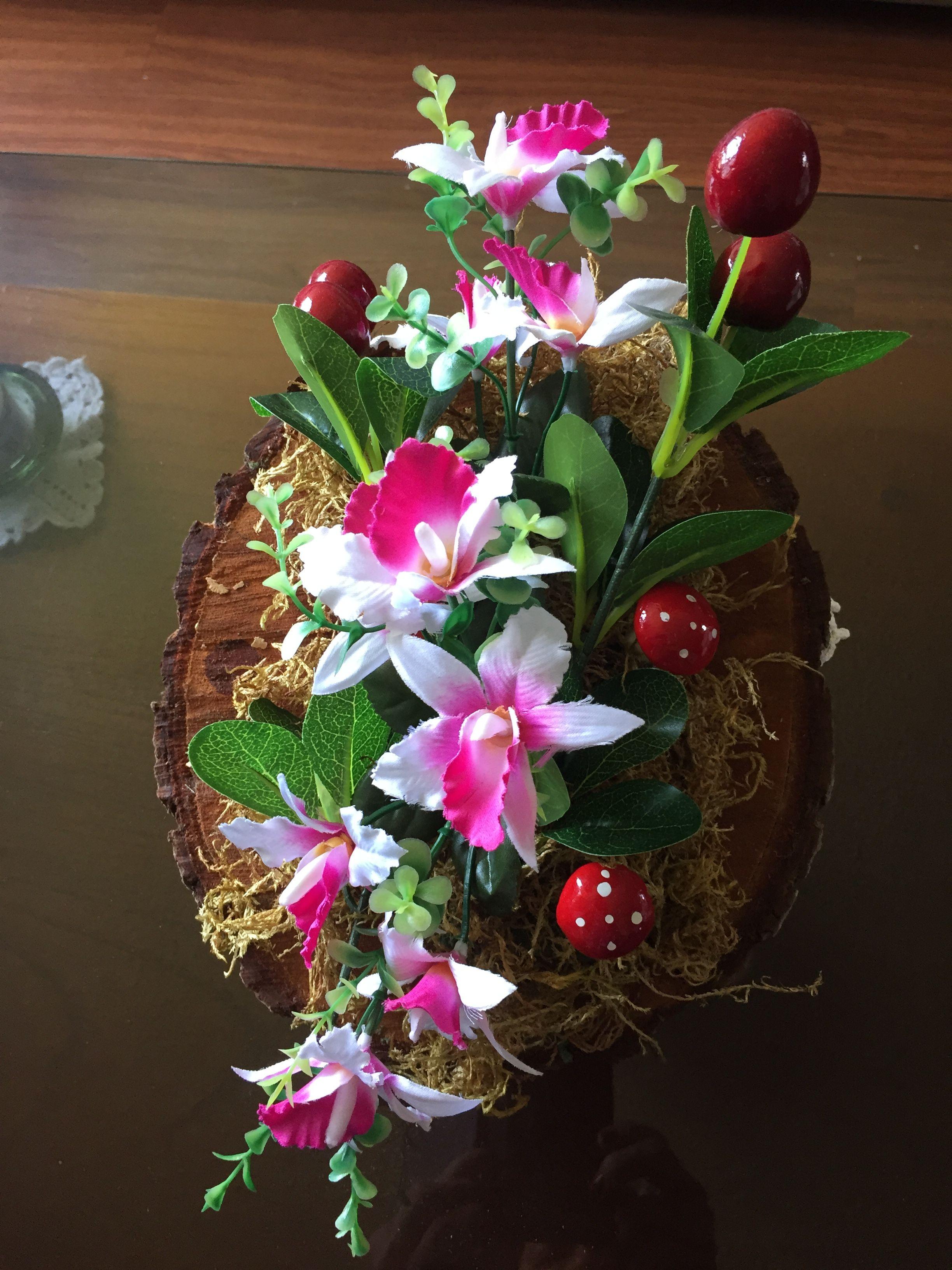 Arreglo con tronco natural y flores artificiales - Arreglos florales con flores artificiales ...