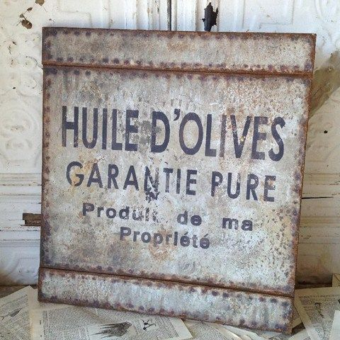 Elegant French Olive Oil Sign Paris, France, French, Shabby Chic, Sign,