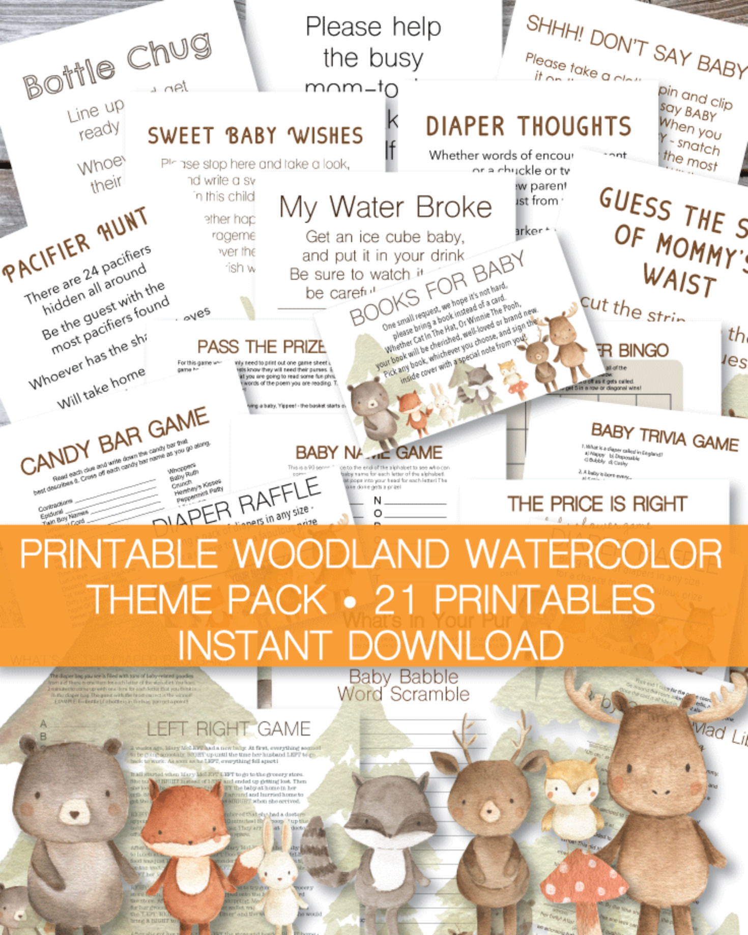 Printable Baby Shower Game – The Price Is Right – Woodland Animals Watercolor Theme