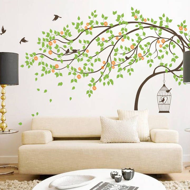 Wall Art Leaning Tree With Birds And Birdcage Wall Sticker | Girls ...