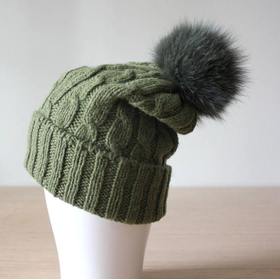 df623e34765 Green cashmere hat with fox fur pom pom, Cable knit hat, Fur bobble ...