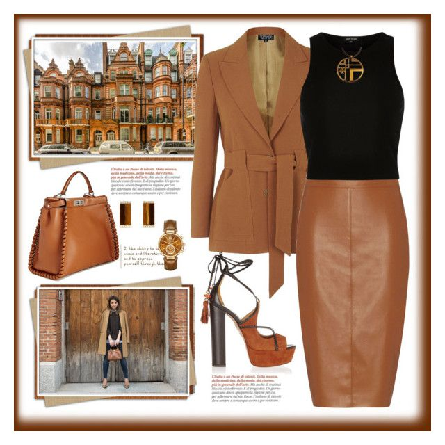 """""""Shades of Brown"""" by terry-tlc ❤ liked on Polyvore featuring Sloane, Aquazzura, Fendi, Bailey 44, Kevia, Tory Burch and Michael Kors"""