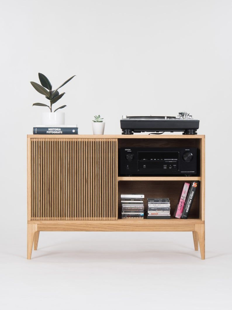 Record Player Stand Vinyl Record Storage Made Of Solid Oak Wood