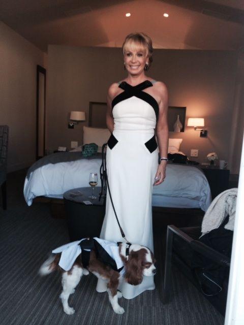Carolina Herrera dress. With #thecolonel in tuxedo wear
