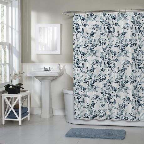 Home Brand Watercolor Botanical Woven Textured Fabric Shower