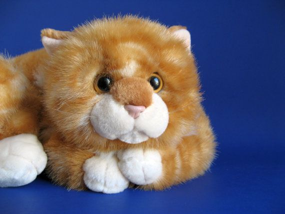 Vintage Orange Tabby Cat Stuffed Animal By Russ Berrie Curled Up Kitten Soft Fluffy Large Orange Tabby Cats Stuffed Animal Cat Orange Tabby Cat Stuffed Animal
