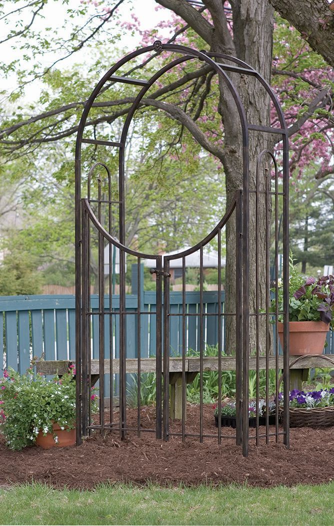 Garden Arch With Gate In Brushed Bronze Garden Arbor With Gate
