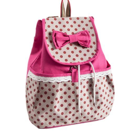 DAKIA Girl's Lovely Bowknot Leisure Super Cute Canvas Backpack ...