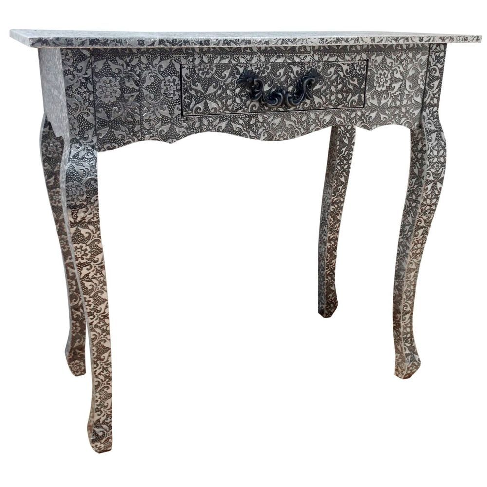 Antique Console Table Vintage Dressing Table Drawer Black Silver