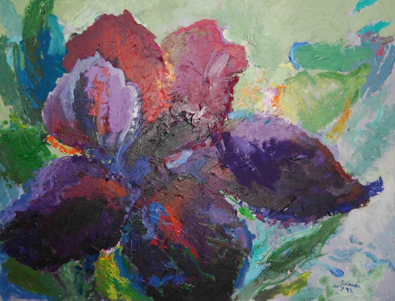 """Purple Iris,"" Acrylic on Canvas, 60 x 78 in."