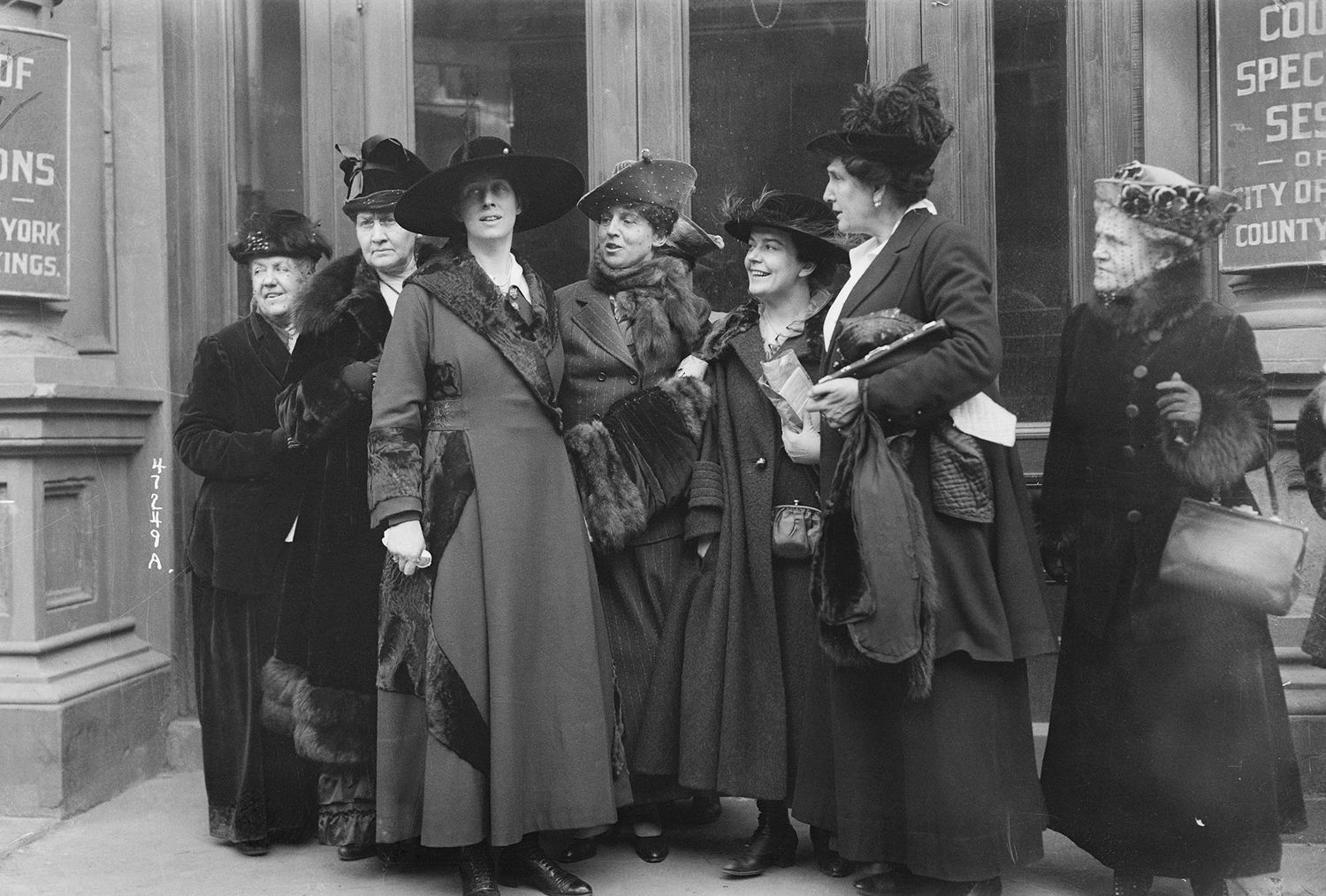 Mrs. Amos Pinchot and other women outside the Court of Special Sessions, in Brooklyn, during the trial of Margaret Sanger, indicted for her teachings on birth control. Sanger was instrumental in organizing groups that would later become what we know today as Planned Parenthood.