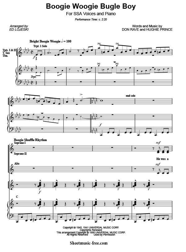boogie woogie ноты фортепиано