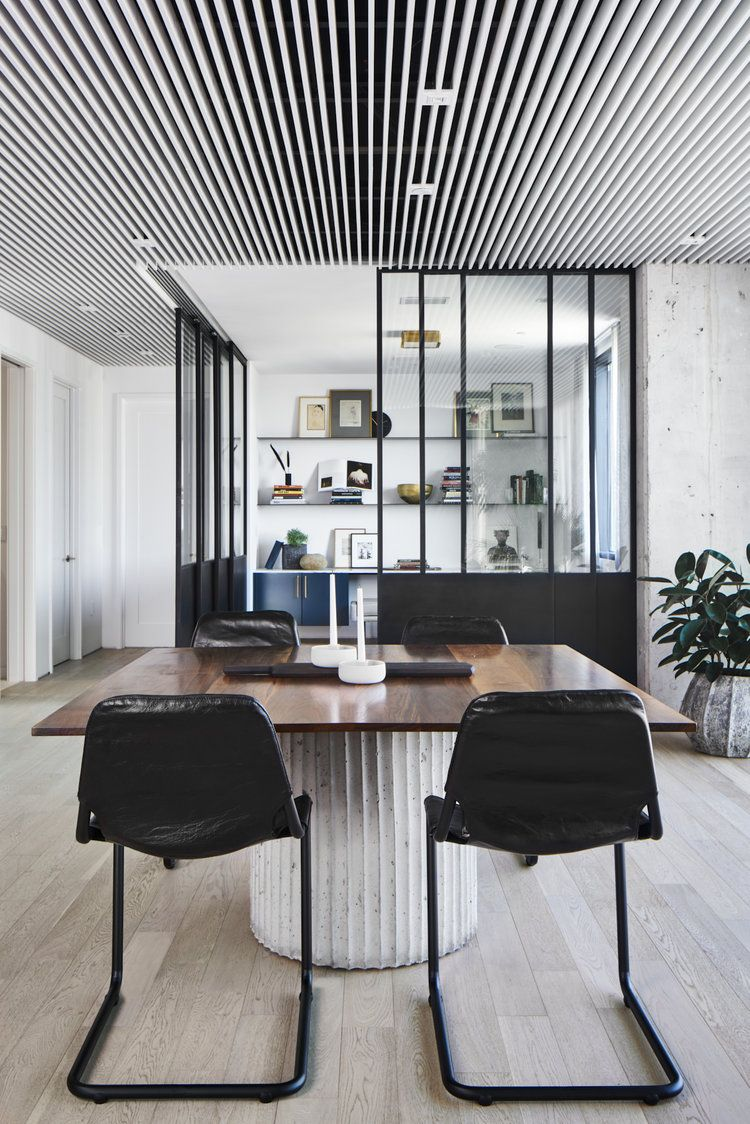 Seaholm Dining Office In Austin Condo Flex Living Space With Black Dining Chairs Concrete Dining Room Design Modern Dining Room Design Beautiful Dining Rooms