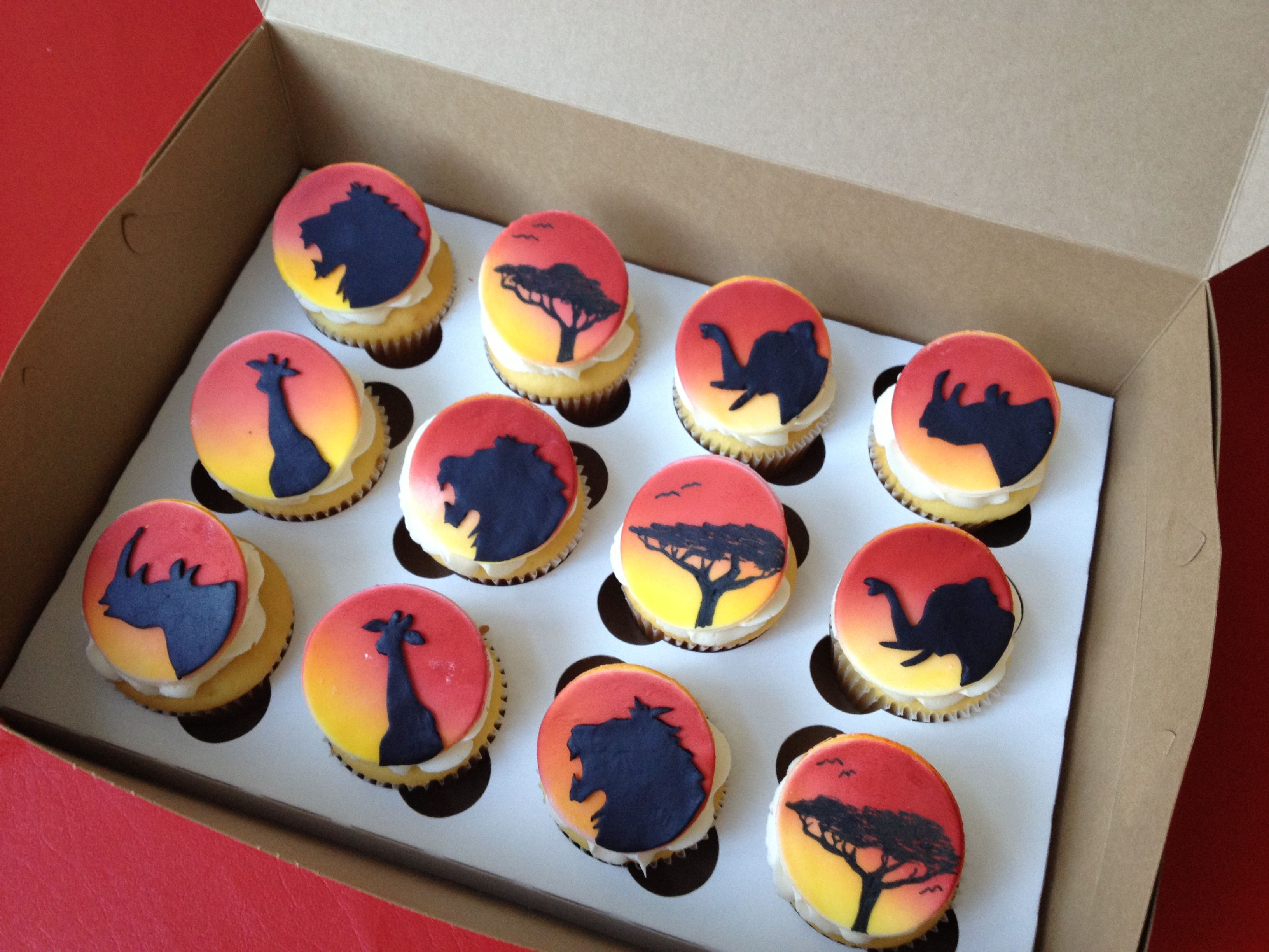 Lion King cupcakes. Airbrushed fondant toppers with hand cut fondant shadow  animals. Hand drawn tree of life. 17089a2fc