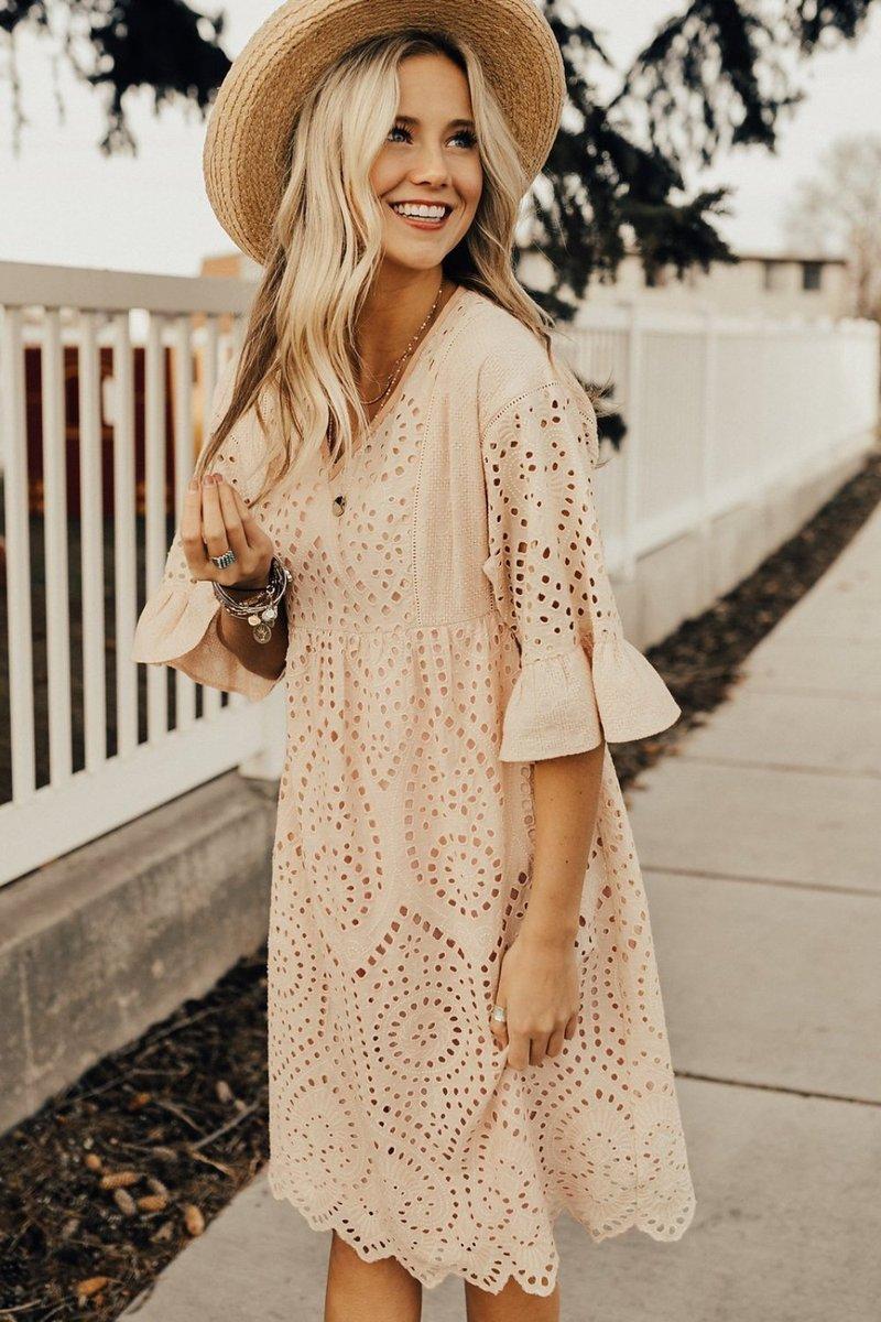 falling for you eyelet dress in blush – sevenromance