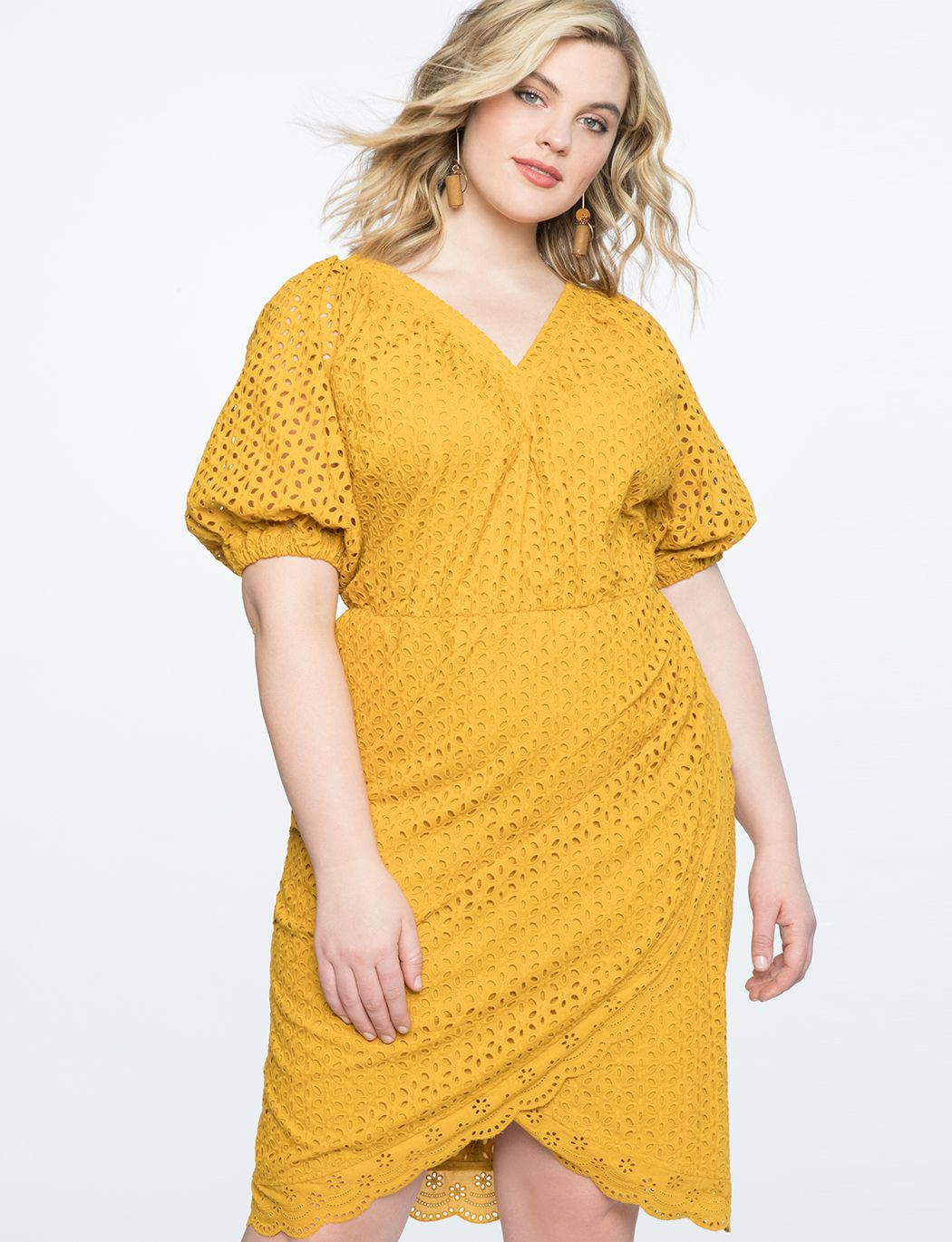 Puff Sleeve Eyelet Dress | Women\'s Plus Size Dresses in 2019 ...