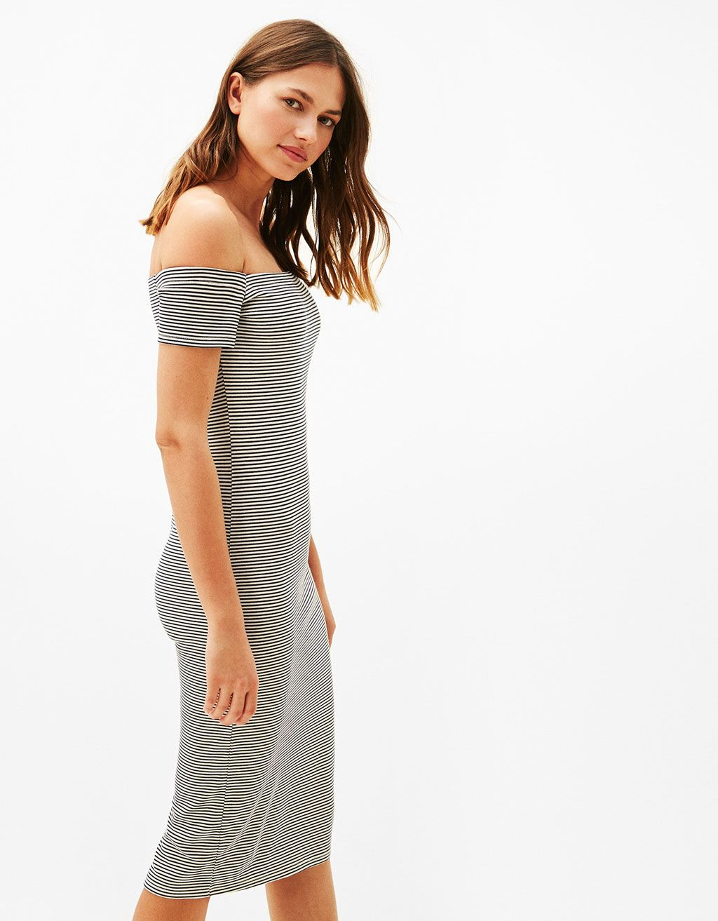 Off-the-shoulder ponte di roma knit dress. Discover this and many ...