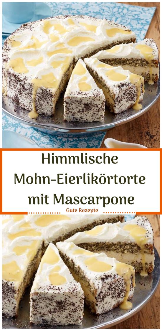 Himmlische Mohn-Eierlikörtorte mit Mascarpone