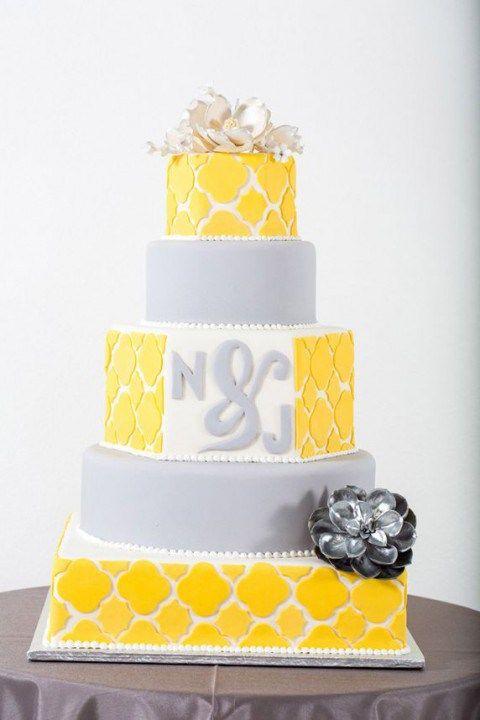 Yellow and Grey Wedding Cake | Yellow and Grey Wedding Decor ...