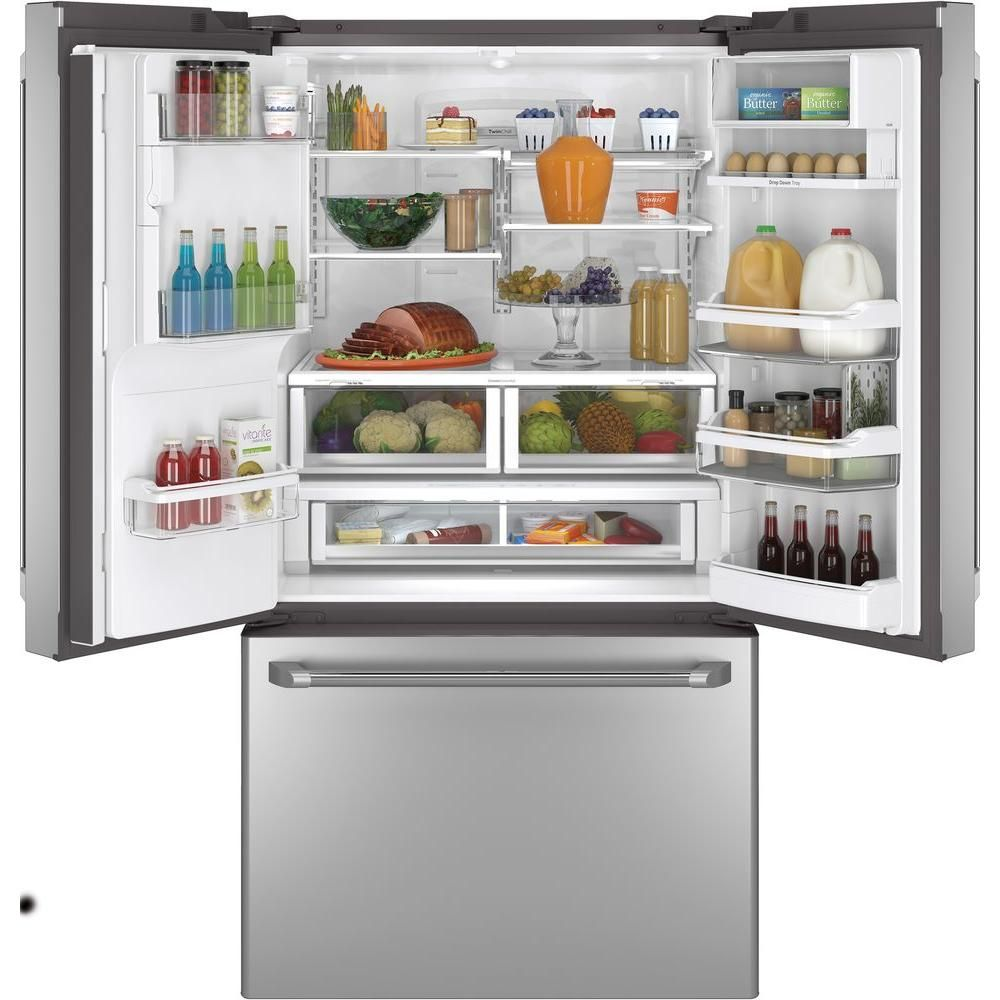 Cafe 278 cu ft french door refrigerator with hot water