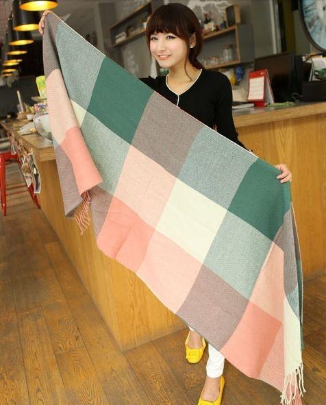 Duzy Szal W Krate Z Fredzelkami Wyprzedaz 5553042269 Oficjalne Archiwum Allegro Winter Scarf Fashion Plaid Blanket Scarf Womens Scarves