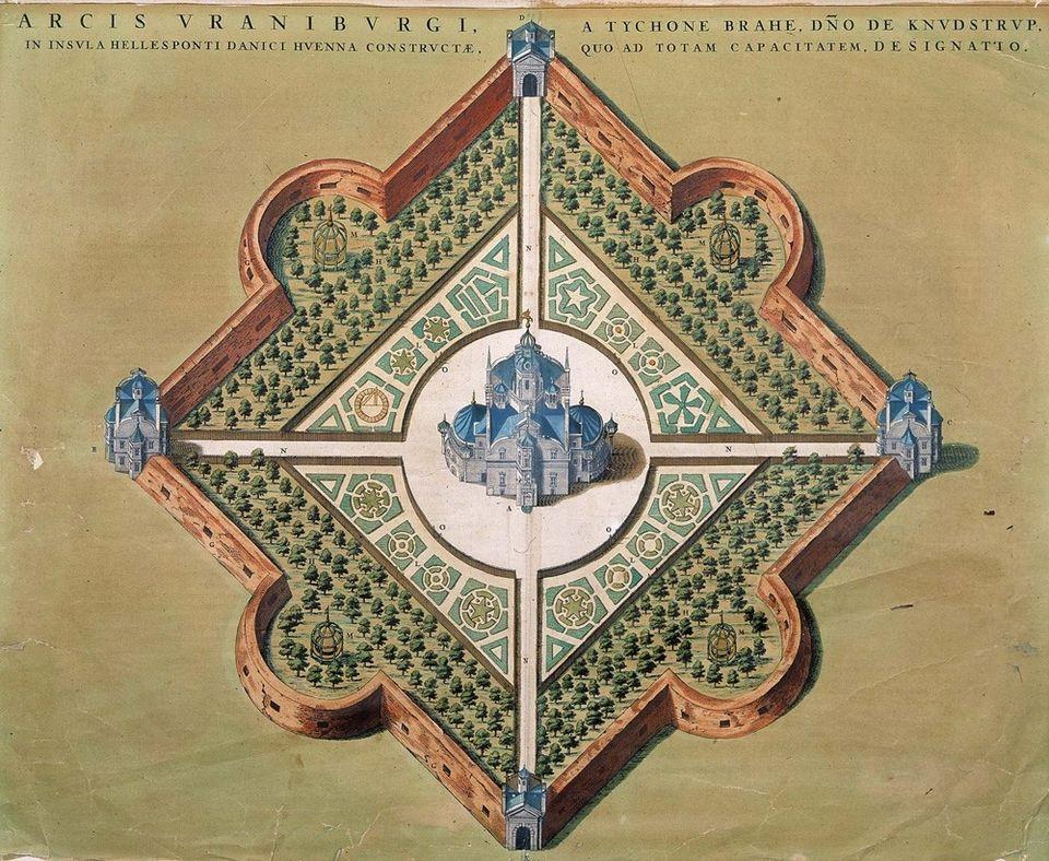 Tycho Brahe's astronomy palace on an island off the coast of Denmark, Uraniborg.