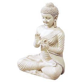 """Artfully rendered in elegant detail, this Buddha decor adds serenity to your console table or credenza.  Product: Buddha decorConstruction Material: PolystoneColor: WhiteDimensions: 18"""" H x 12.5"""" W 10.5"""" D"""