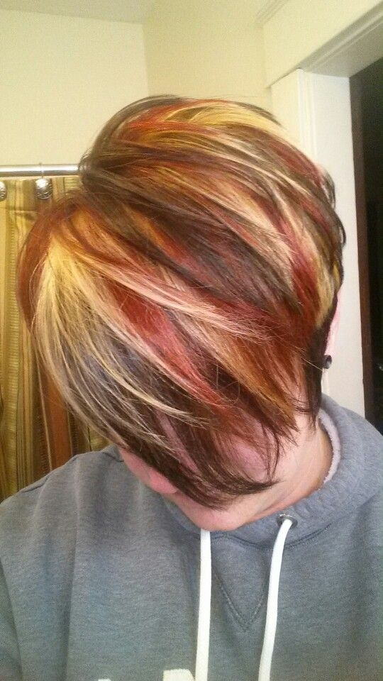 Multicolored Highlights Red Blonde Highlights Brown Lowlights Red Hair With Blonde Highlights Red Blonde Hair Short Hair Highlights