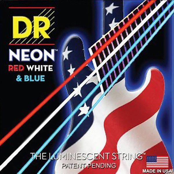 DR Strings Neon Red White Blue 4 String Bass Strings Medium 45-105 NUSAB-45