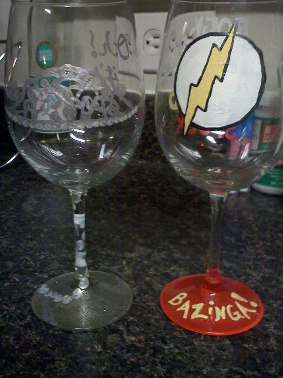 Handpainted Shamy wine glasses by JezzyBees on Etsy, $30.00