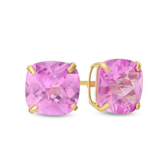 Zales 6.0mm Heart-Shaped Lab-Created Pink Sapphire Solitaire Stud Earrings in 10K Gold vwgTyk2r