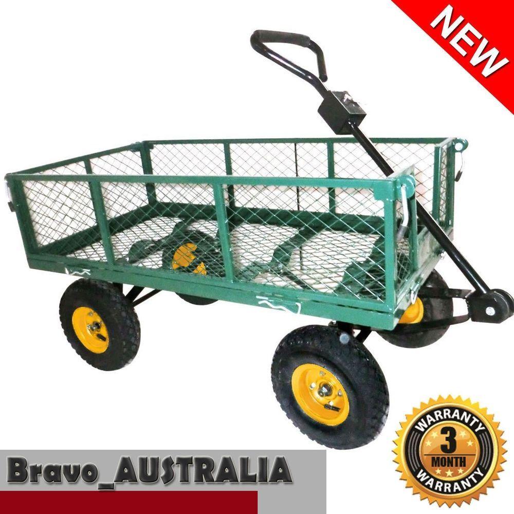 Steel Garden Cart Folding Mesh Sides Trolley Farm Wagon Trailer Powder  Coated