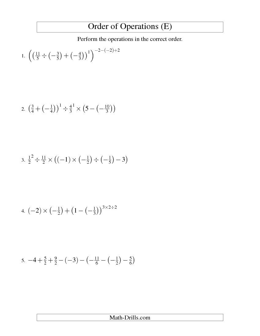 worksheet Advanced Order Of Operations Worksheets order of operations with fractions six steps including negative e