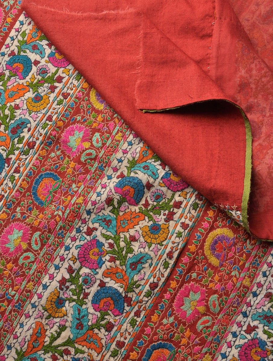Indian Embroidered Sarees: Hand Embroidered Border All Over Pashmina & Wool Shawl