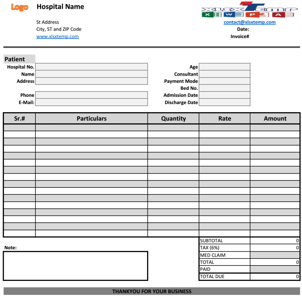 Medical Bill Invoice Template  Excel Business Invoices
