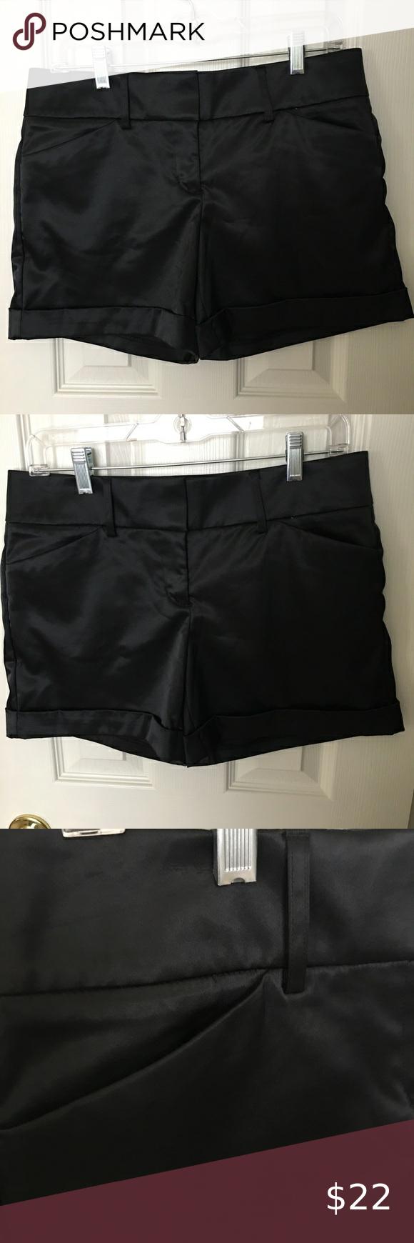 Express Shiny Black Satin Cuffed Shorts Size 6 Fashion Clothes Design Fashion Design [ 1740 x 580 Pixel ]