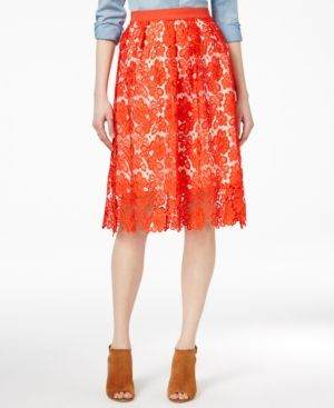 Maison Jules Crochet-Lace Skirt, Only at Macy's - Red 14