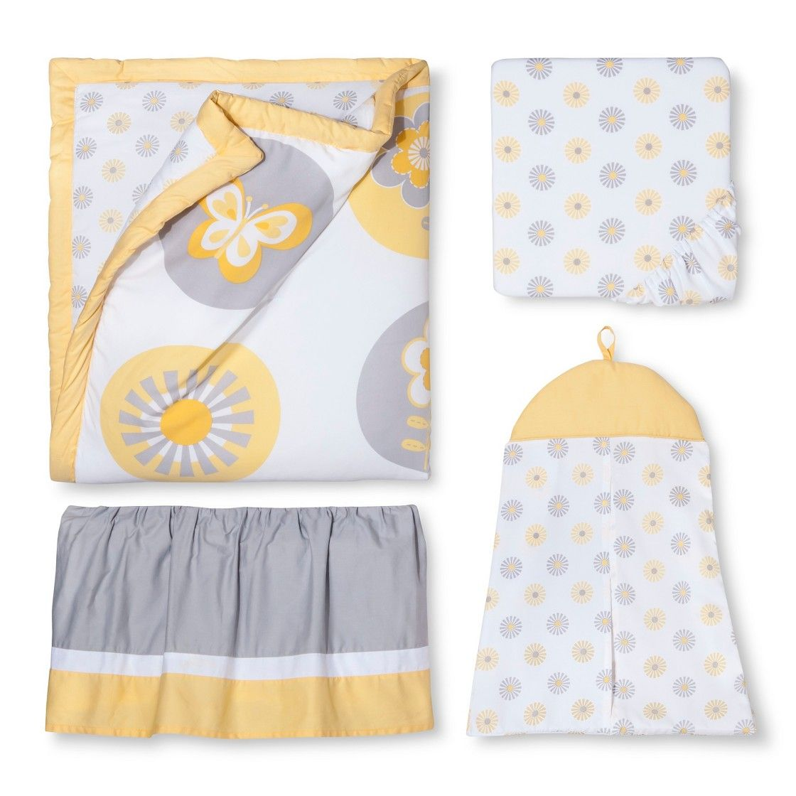 Sweet Jojo Designs 11pc Mod Garden Crib Bedding Set Grey