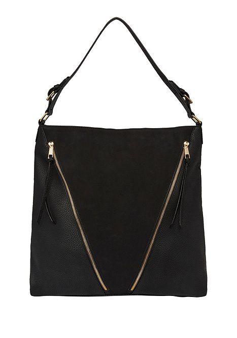 cb1cba6c1f9f Tesco direct: F&F Double Zip Hobo Bag One Size Black | accessories ...