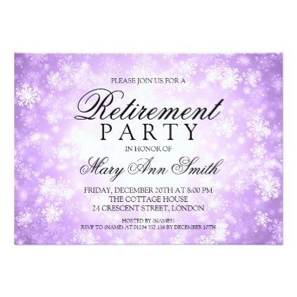 Retirement Party Purple Winter Wonderland Card  Invitation Ideas