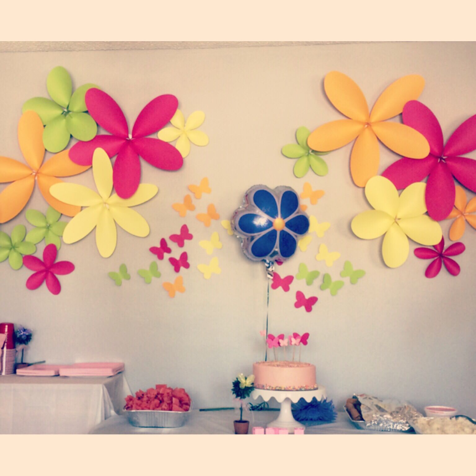 Giant Paper Flowers And Butterflies For Baby Shower Wall Backdrop