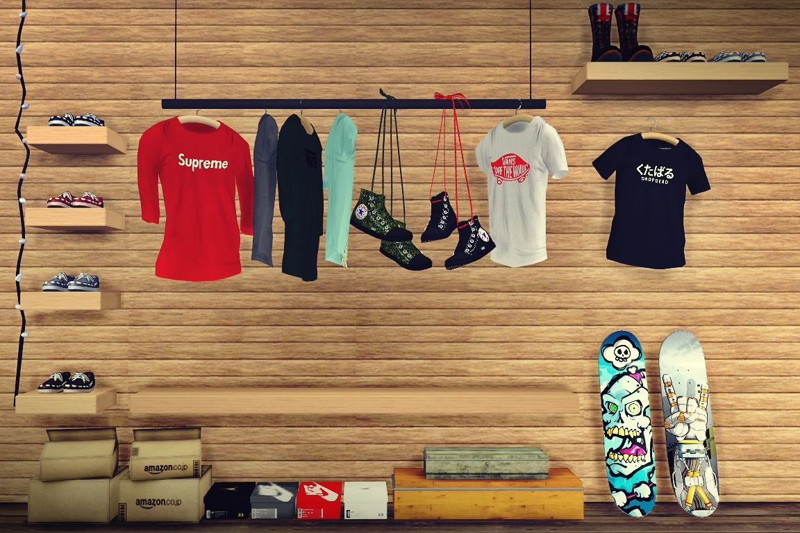 Mxims street wear hanging raglan shirt deco 7 swatches for Deco appartement sims 4