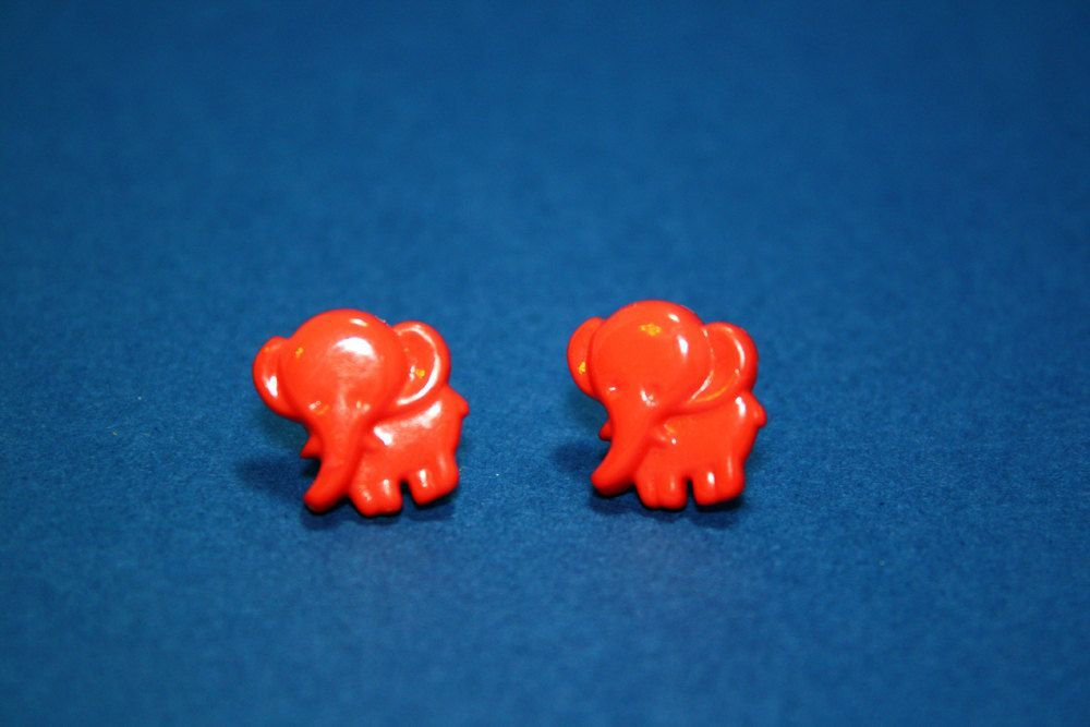 Red Elephant Stud Earrings - Plastic Button Posts for $3 +s&h by JustPeachyHandmade on Etsy