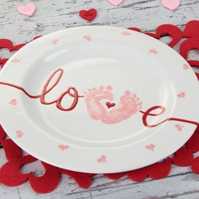 My baby love plate from duncan ceramics click on the link for Handprint ceramic plate ideas