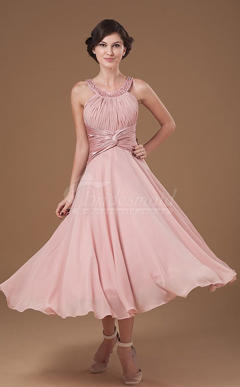 Scoop Neck Nude Pink A Line Dress for Wedding Guest http://www ...