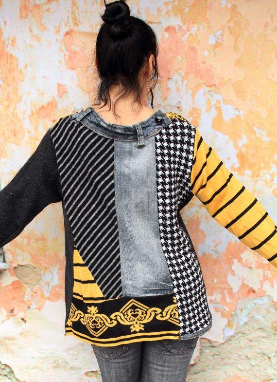 Black denim recycled sweater hippie boho style | Pinterest ...