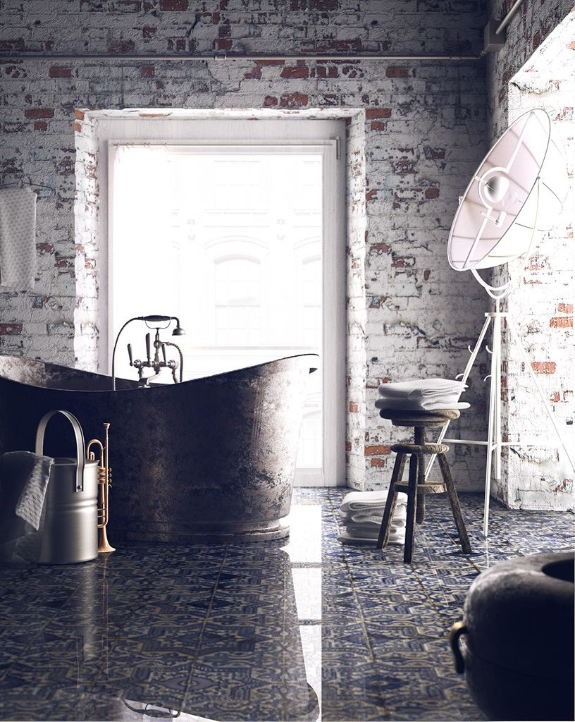 The Fortuny Moda Lamp looks stunning in this stripped back bathroom ...