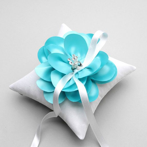 Cuscini Color Tiffany.Aqua Blue Ring Pillow Mint Blue Ring Pillow Flower Ring Bearer