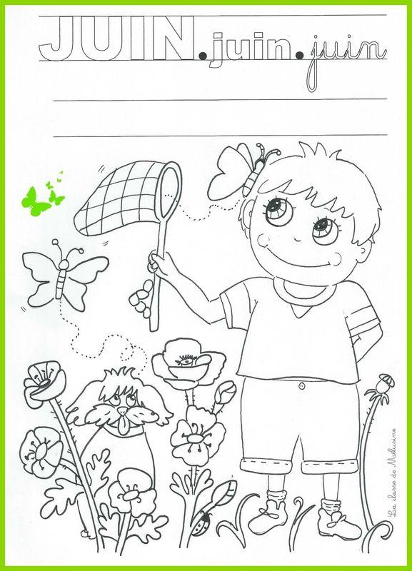 Coloriage Du Mois De Juin La Classe De Mélusine Coloriage Enfant