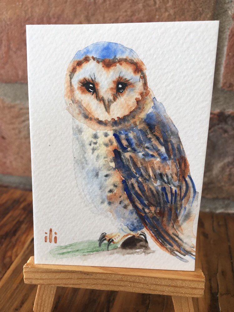 ACEO Miniature Original watercolor painting cute Barn Owl bird minimalist abstract illustration drawing wildlife fine art gift